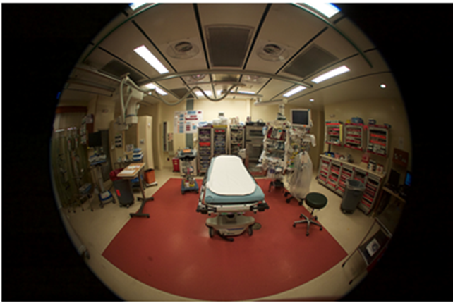 Fisheye lens view of a bed in the emergency room